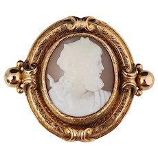 French Antique Sardonyx Shell Cameo Brooch Zeus 18k Gold, Victorian Era