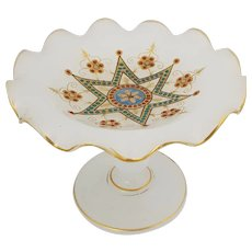 French Antique Opaline Baguier Ring Holder Dish, Gold and Enamel c.1840-1850
