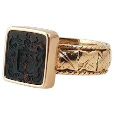 Antique Bloodstone Intaglio Signet Ring, Heraldic Coat of Arms, 18k Gold