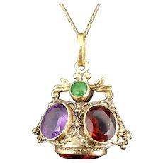 Large Vintage Etruscan Revival Charm or Pendant, 18k Gold and Gemstones