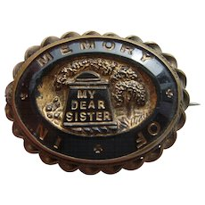 Victorian French Jet Mourning Brooch 'In Memory of My Dear Sister' with Tomb