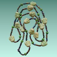 Vintage Chinese Carnival Glass Flapper Bead Necklace Carved Soapstone Buddhas
