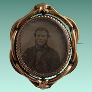Victorian Pinchbeck Swivel Locket Brooch Ambrotype Mourning Photo of Man