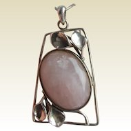 Huge Art Nouveau Style 925 Silver ROSE QUARTZ Pendant on Snake Chain