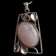Huge Art Nouveau Style 925 Silver ROSE QUARTZ Pendant on Snake Chain