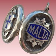 Large Victorian Silver Blue Enamel MALTA Locket Pendant c1900 with Mourning Hair