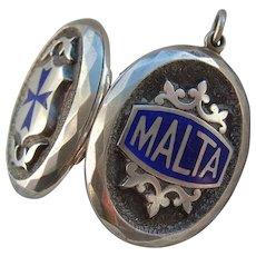 Large Victorian Silver Blue Enamel MALTA Locket Pendant c1900 with Mourning Hair