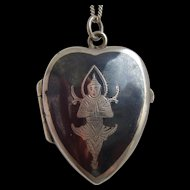 Vintage Sterling Silver Thailand Niello Heart Shaped Locket on Chain