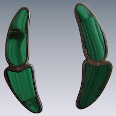 Vintage Taxco Mexico Sterling Silver Malachite Modernist Earrings
