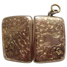 Antique Edwardian 9ct Gold BF Rectangular Chased Locket c1910