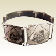 1940's Iraqi Marsh Arab Mandean Silver Niello Panel Bracelet