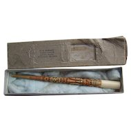 Antique Alaskan Inupiat Eskimo Carved Totem Pole Brush Dip Pen Orig Kirmse Box