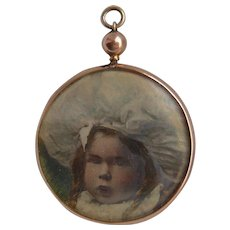 Victorian 9ct Rose Gold Mourning Girl Photo Pendant with Hair Plait c1890