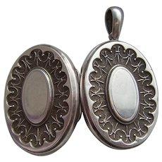 Antique Large Victorian Silver Locket Pendant c1900