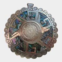 Large Sterling Silver Taxco Mexico Signed TC-271 Mayan Aztec Sundial Brooch Pendant