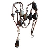 "Vintage Art Deco 25"" Sterling Silver Necklace with Scottish Banded Agate Beads & Torpedo Drop Pendant"