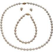 Vintage 18K Carat Gold Cultured Pearls Necklace Bracelet & Diamond Set Earrings Parure