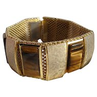 Vintage 1970's Gilt Bark & Tigers Eye Panel Bracelet with Mesh Back & Push-In Clasp
