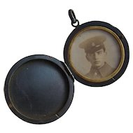 WW1 Trench Art Gun Metal Sweetheart Locket with Photo of Soldier Inside 1914-1918