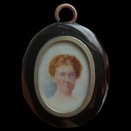 Victorian Whitby Jet Mourning Locket Pendant with Hand Painted Portrait