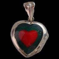 Vintage 925 Sterling Silver Red & Green Enamel Heart Locket Chunky Pendant