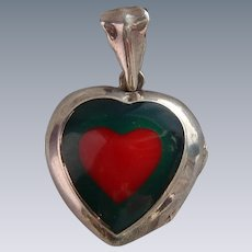 Vintage 925 Sterling Silver Red & Green Enamel Heart Locket Chunky Pendant
