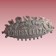 Rare Victorian Chester 1895 Silver Double Name Brooch Louisa Eliza Reg No 17178