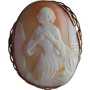 Splendid HUGE 9ct Gold Mounted Victorian Shell Cameo Brooch with Lady Kneeling