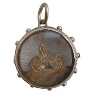 Victorian 1890s Sterling Silver Glass Cased Gold Bicycle Fob Pendant