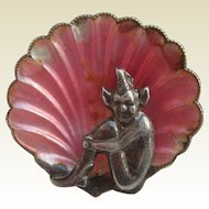 Vintage Art Deco Pink Enamel Sterling Silver Cornish Devon PIXIE Brooch for Good Luck