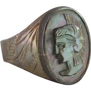 Vintage Silver Carved Mother of Pearl Athena Cameo Signet Ring 9.4gms