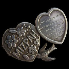 Superb Victorian Sterling Silver MIZPAH Brooch H/M Birm 1876 Adie & Lovekin