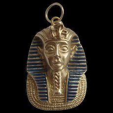 Vintage H/M 9ct Gold Egyptian Pharaoh Head Pendant Tutankhamun 11.08gms
