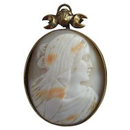 Large Victorian Hand Carved Shell Cameo Pendant with Fleur-de-Lys Crescent Gilt Bail