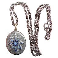 Victorian Silver B&F Blue Enamel Star Locket on Sterling Chain & Wedding Photos