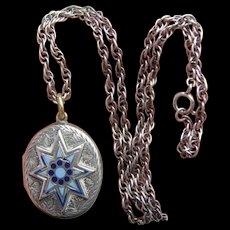 Victorian Silver B&F Blue Enamel Star Locket on Sterling Chain & Wedding Photos