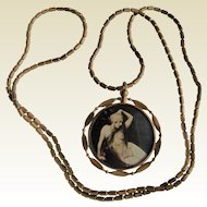 "Risque Art Deco 1920's Semi Nude Ladies Double Sided Photo Locket Pendant on 31"" Gilt Flapper Chain"