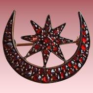 Victorian Bohemian Garnet Gold Crescent Moon & Star Brooch