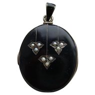 Antique Victorian Black Enamel & Seed Pearl Austro Hungarian Mourning Locket