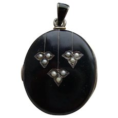 Antique Victorian Black Enamel & Seed Pearl Austro Hungarian Mourning Locket