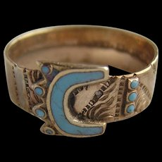 Victorian Gold Plated Turquoise Blue Enamel Crown Buckle Ring Dated 1888