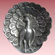 WW1 Trench Art POW Hand Made PEACOCK Pewter Trinket Pin Dish Ash Tray 81.29gms