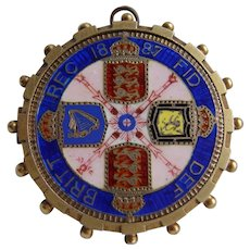 Queen Victoria Enamelled Double Florin Coin Sterling Silver Gilt Pendant H/M 1887 Jubilee