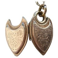 """Vintage Art Deco 1930's Gold Back & Front Shield Locket on 17"""" Rolled Gold Chain"""