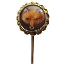 Victorian Hand Painted Fox Porcelain Hunting Stick Pin with Glass Locket Mourning Back