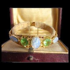 Stunning Vintage Chinese 22K Carat Gold Foiled Moonstone & Green Garnet Bracelet 16.46gms