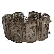 Vintage Egyptian Silver Wide Cuff Bracelet Hallmarked Dates 1937-38 Weighs 59.9gms