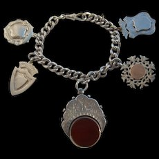 Victorian Sterling Silver HUGE Revolving Agate Fob & 4 Large Shield Fobs Watch Chain Charm Bracelet 72.77gms