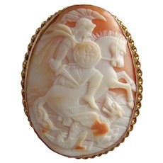 Stunning Large 9ct Gold Victorian Shell Cameo Brooch St George Slaying the Dragon