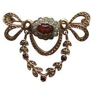 Vintage Edwardian Style 9ct Gold Garnet & Pearl Dropper Brooch H/M 1989.. 5.8g